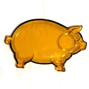 """Other - """"Tiara"""" Exclusive Amber glass pig serving plate"""